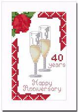 RUBY (40) WEDDING ANNIVERSARY CROSS STITCH CARD KIT