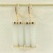 14k Yellow Gold Leverback Celadon White Curve Twin Tube Jadeite Earrings TPJ
