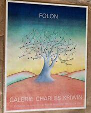 WEIRD SURREAL Poster, Eyes in Tree, Jean-Michel FOLON, Moderne du Lion Paris BIN