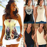 Womens Boho Sleeveless Tank Top Beach Vest Tee Shirt Summer Casual Loose Blouse