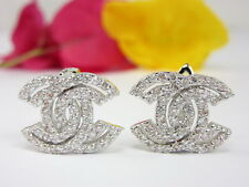 Gorgeous Fashion Chic CZ Huggie Earrings 22K 18K White Gold GP Thai Jewelry GT11