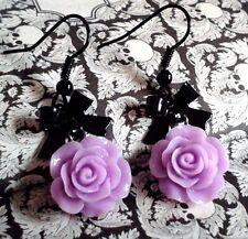 Cute Lolita Earrings Black metal Bow Purple Rose Sweet Girly Gothic. Pastel Goth