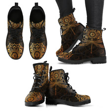 Mandala Dragonfly Rusty Gold Handcrafted Boots