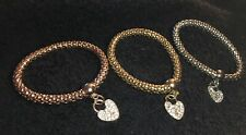 Three Gold/Silver/Rose Gold Plated Stretch Heart Bracelets