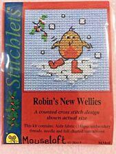 MOUSELOFT STITCHLETS CROSS STITCH KIT ~ ROBIN'S NEW WELLIES ~ CHRISTMAS ~ NEW