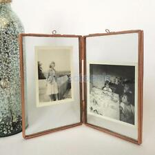 Antique Brass Glass/ Metal Picture Photo Frame Vintage Portrait 5.5 x 6.3""