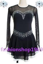 Ice Figure Skating Dress  Figure skaitng Dress black For Competition xx355