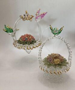 "Lot 2 VINTAGE SPUN GLASS CRYSTAL Bird FLOWER BASKETS Christmas Ornaments 4"""