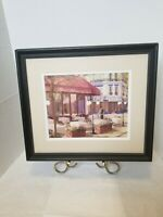 Vtg. Framed Print, Lovers in Paris Cafe France, Wall Hanging Picture, Home-Decor