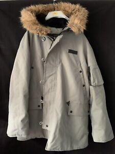 Alpha Industries Green Heavy Coat Jacket Fur Trim Hood Parker XL