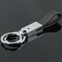 High Quality Double Loops Leather Strap Metal Keyring Keychain Ring Key Fob Gift