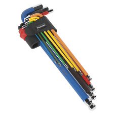Sealey Ball-End Hex Key Set 9pc Colour-Coded Extra Long Metric Garage Workshop