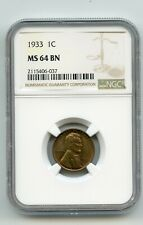 1933 1C Lincoln Wheat Cent (MS 64 BN) NGC