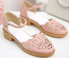 Pastel pink cut-out rubber sole block heeled Sandals UK 4-5 (23cm long) **NEW**