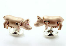 Deakin and Francis Silver Wiggling Pig Cufflinks Rose Gold Plated Ruby Eyes