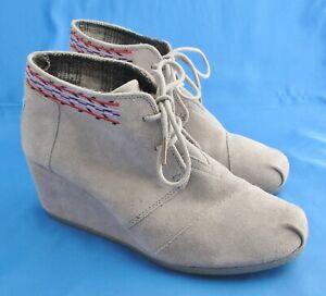 TOMS Women's Desert Suede Wedge Booties Shoes Gray Size W 10 300813 Grey Shootie