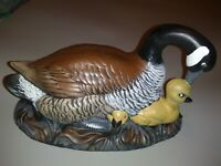 Vintage Atlantic Mold Ceramic Canadian Goose Geese w/ Goslings Signed & Painted