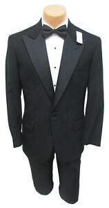 Men's Brooks Brothers Black Tuxedo Jacket with Satin Peak Lapels 40L