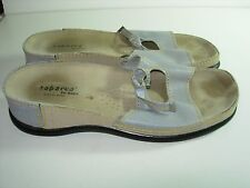 WOMENS GRAY LEATHER TABARCA PEPA SLIDES SANDALS CASUAL HEELS SHOES SIZE 40 9.5 M