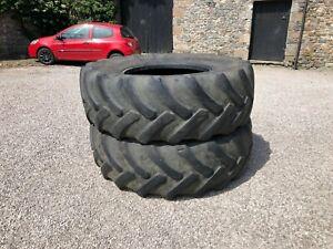 #B1254 2 x Goodtyear Optitrac 650/85R38 tractor tyres 15% tread Good sidewalls
