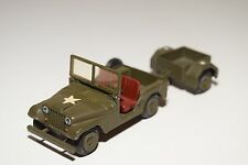 .. TEKNO DENMARK 814 US AMRY JEEP ARMY GREEN WITH TRAILER NEAR MINT CONDITION