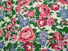 """Vintage 1940s 50s Cotton Fabric Roses Lilacs 25"""" x 34 1/2""""WYD + Extra"""
