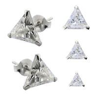 1 Paar 925 Silber Ohrstecker Dreieckig Zirkonia Strass Hip Hop Ohrringe 6mm