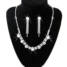 Diamond Shine Bridal Jewellery Crystal Set Drop Earrings & Necklace Choker S220a