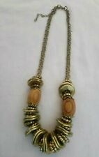 Brass And Wooden Bead Necklace Bohemian Hippie Festival