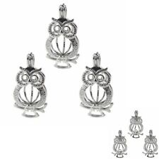 Owl Pearl Cage 5pcs Silver Color Locket Pendant Fit DIY Essential Oil Diffuser