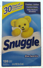 Snuggle Blue Sparkle Fabric Softener Dryer Sheets Fresh Release Snuggles 120ct