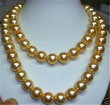 Long 36 Inches 8mm Gold Yellow South Sea Shell Pearl Round Beads Necklace AAA