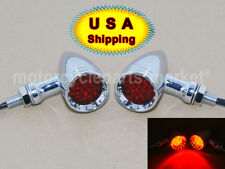 USA Chrome Red LED Bullet Stop Brake Running Turn Signal Tail Light Motorcycle