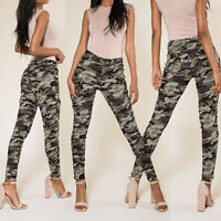 Womens Army Camo Pants Ladies Camouflage Casual Stretchy Skinny Jeans Size 6-14