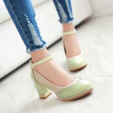 Fashion New Party Block Women's Ankle Strap Lolita Mary Janes High Heel Shoes