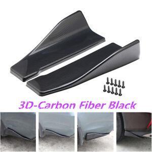 2pc Carbon Fiber Style Car Rear Bumper Lip Diffuser Splitters Anti-scratch Strip