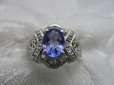ESTATE STS 14K SOLID WHITE GOLD LAVENDER BLUE OVAL TANZANITE DIAMOND RING SIZE 6