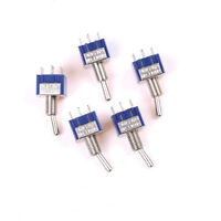 5Pcs 6Pin 3Position ON-OFF-ON DPDT Latching Toggle Switch AC 125V/6A TH