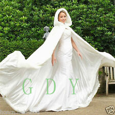 New White/ivory Faux Fur Bridal Winter Warm Long Wedding Cloak Cape Cape