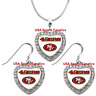 San Francisco 49ers 925 Necklace / Earrings or Set Team Heart With Rhinestones