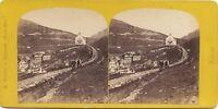 Suisse Andermatt Vista Da La Route Ober-Alp Foto Braun Stereo Vintage Albumina
