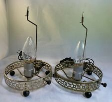 Lot of 2 MCM ECONOLITE Motion Lamp BASE ONLY Gold Tone Electric WORK