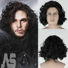 Game of Thrones Cosplay Jon Snow Wigs Black Short Curly Wig Synthetic Halloween