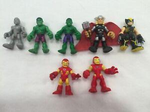 7 Playskool Heroes Hasbro Marvel Superhero Action Figures Thor, Hulk, Wolverine