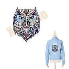 DIY Owl Pyrography Patches Heat Press Appliqued Cloth Decoration Iron On Patch