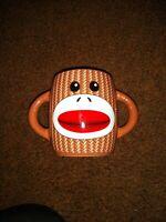 Galerie Double Handle Sock Monkey Ceramic Coffee Tea Cocoa Mug Cup