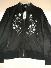 NWT ANA A NEW APPROACH Womens Black Embroidered Flat Satin Bomber Jacket Size 3X