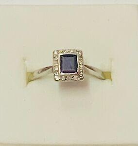 """""""Art-Deco 18ct White Gold Square Sapphire & Diamond Cluster Ring"""" Circa 1930"""