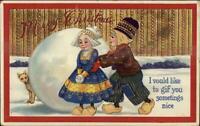 Christmas - Dutch Kids Giant Snowball & Dog c1910 Postcard