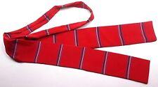 """No Brand Label Men's Silk Ascot Tie 2"""" Wide Red w/ multi-color Stripes"""
